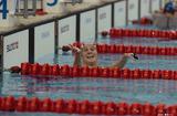 水泳―レース後観客席に笑顔をみせる女性スイマー―オリンピックアクアティックセンターより