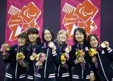 ロンドンパラリンピック ゴールボール女子日本代表 金メダル 写真/竹見脩吾