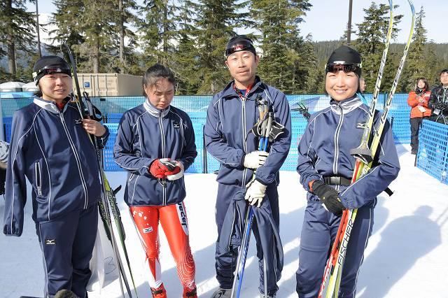 バンクーバー 女子1キロスプリントに出場した3人 左から出来島選手、鹿沼選手、一番右が太田選手