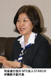 写真:司会進行役のNPO法人STANDの伊藤数子副代表