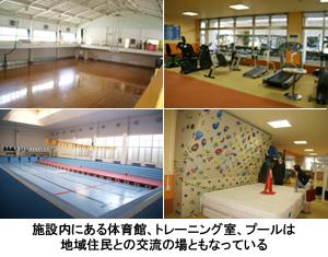 写真:施設内にある体育館、トレーニング室、プールは地域住民との交流の場ともなっている