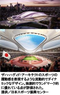 写真:ザハ・ハディド・アーキテクトのスポーツの躍動感を表現するような流動的でダイナミックなデザイン。独創的でランドマーク的に優れている点が評価された。 提供/日本スポーツ振興センター