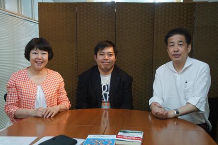 左から、伊藤数子、永野明選手、二宮清純