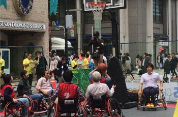 車椅子バスケットボールの体験会