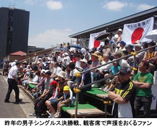 写真:昨年の男子シングルス決勝戦、観客席で声援をおくるファン