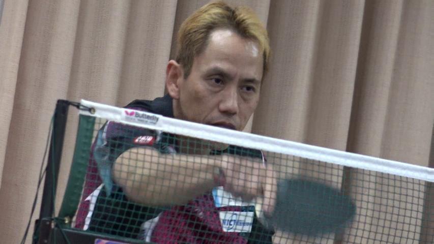 練習する吉田信一選手。昨年度の国内主要2大会のタイトルを全て獲得した